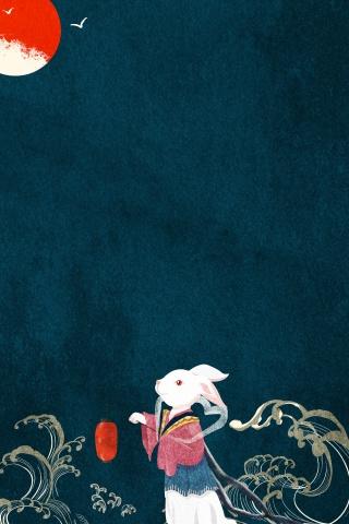 中秋卡通兔子背景免费下载中秋 月亮
