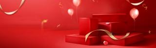 红色立体质感女鞋行李箱包包节日海报背景