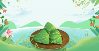 小清新手绘绿植粽子端午节食品节日海报背景