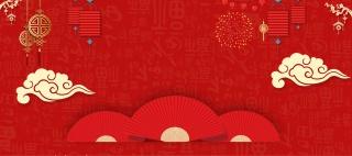 红色中国风装饰家电数码新年春节海报背景