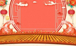 中国风木板家电年货春节新年海报背景