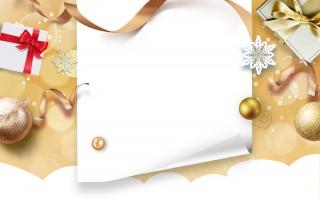 金色大气礼盒丝带装饰圣诞节化妆品海报背景