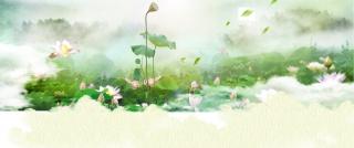 绿色清新梦幻荷塘护肤品化妆品中秋海报背景