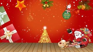 暖色圣诞节新年零食食品木板展台海报背景