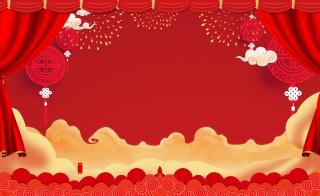 红色中国风喜庆烟花家电数码新年海报背景