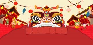 中国风舞狮云纹家电百货春节新年海报背景