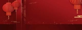暗红色灯笼装饰过年春节女装海报背景