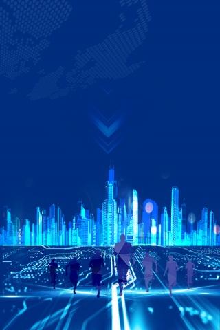 城市科技创意背景合成免费下载