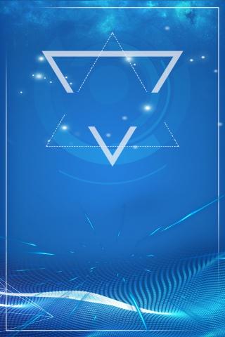 线条科技蓝色边框海报背景