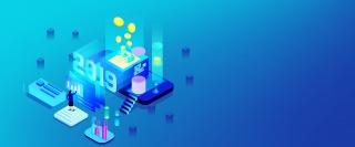 2.5D蓝色渐变未来互联网金融背景
