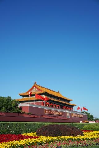 蓝天下的北京天安门照片